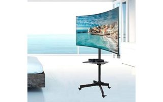 """EZM Mobile TV Cart Rolling Stand for LCD LED Plasma Flat Panel with Shelf Fits 23"""" to 55"""""""
