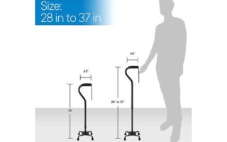 RMS Quad Cane - Adjustable Walking Cane with 4-Pronged
