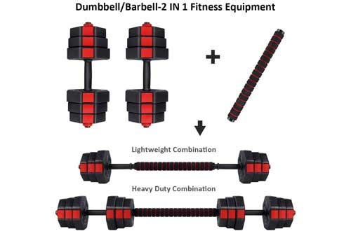 wolfyok Fitness Dumbbells Set, Adjustable Weight to 44Lbs, Home Fitness Equipment for Men and Women