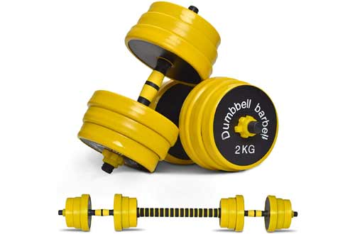 Nice C Adjustable Dumbbell Barbell Weight Pair, Free Weights 2-in-1 Set