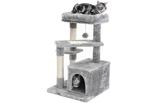 SUPERJARE Cat Tree with Extra Scratching Board & Posts, Kitten Tower Center