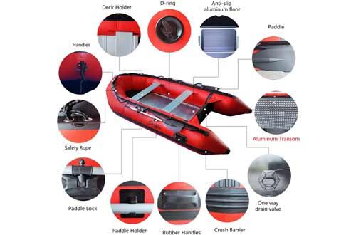 Emaxusa Inflatable Boat Aluminum Floor Aluminum Transom 4 Person