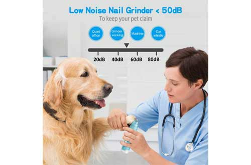 Bousnic Dog Nail Grinder 2-Speed - Upgraded Rechargeable Pet Nail Trimmer