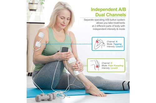 AUVON Dual Channel TENS Unit Muscle Stimulator Machine with 20 Modes