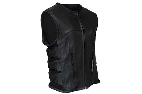 IKLeather Swat Style Leather Vest Mens Motorcycle Biker Tactical Black Stretch