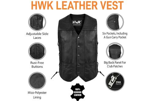 Leather Motorcycle Vest For Men Black Classic Vintage Club Riding Biker Vests With Concealed Gun Pocket (M)