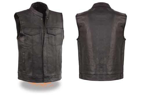 EVENT LEATHER Men's Leather Motorcycle Vest Zipper & Snap Closure w/2 Inside Gun Pockets & Single Panel Back