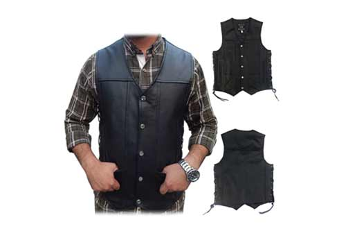 2Fit Men's Black Genuine Leather 10 Pockets Motorcycle Biker Vest New S To 9XL