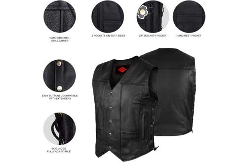 ALPHA MEN'S LEATHER MOTORCYCLE VEST BLACK CLUB RIDERS BIKER CONCEAL GUN- XL