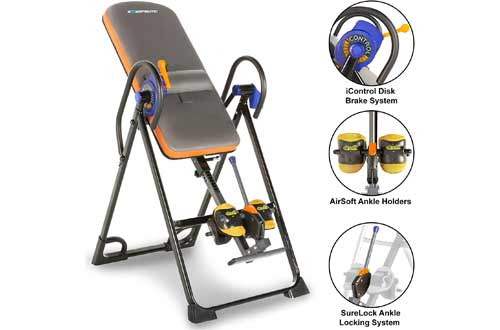 Exerpeutic 975SL All Inclusive Heavy Duty 350 lbs Capacity Inversion Table with Air Soft Ankle Cushions