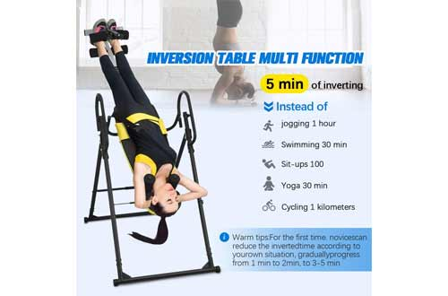 Doufit Inversion Table for Back Pain Relief, Foldable Heavy Duty Inverted Back Stretch for Storage