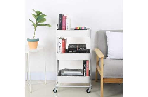 3-Tier Metal Mesh Utility Rolling Cart Storage Organization Cart with Wheels, Cream White