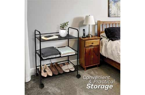 Richards Homewares Rolling Cart Black Shelves with Wheels with Heavy Duty Metal Frame
