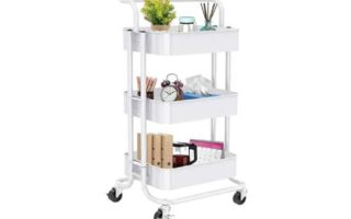 3-Tier Rolling Utility Cart, Multifunctional Metal Organization Storage Cart with 2 Lockable Wheels for Office