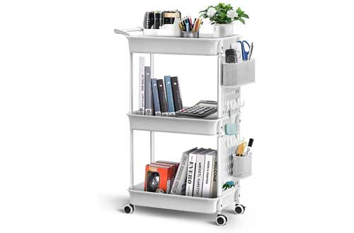 ADOVEL 3 Tier Rolling Cart, Utility Carts with Wheels, Removable Storage with DIY Pegboard