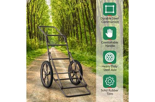 """GYMAX Folding Deer Cart, 500 lbs Heavy Duty Game Cart with 17"""" Rubber Wheels"""