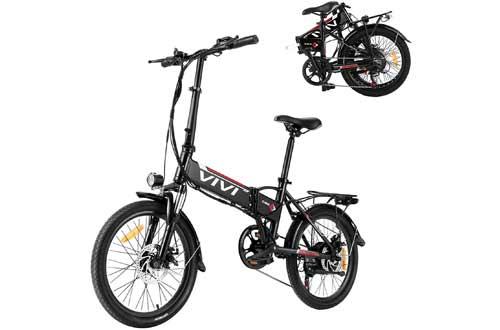 Vivi Folding Electric Bike,20 inch Folding Ebike with Removable Battery & 7-Speed Gear Shift
