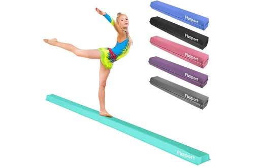 FBSPORT 8ft/10ft Balance Beam: Folding Floor Gymnastics Equipment PU Leather for Kids Adults