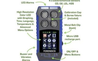 MULTIGAS Detector O2, CO, H2S, LEL by Forensics | Color Display & Graphing