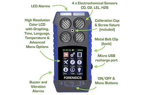 MULTIGAS Detector O2, CO, H2S, LEL by Forensics   Color Display & Graphing