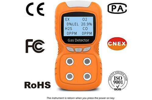 XLA Alert Portable Gas Detector, Gas Clip 4 Gas Monitor Meter Tester Analyzer