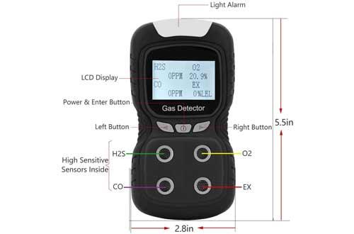 Portable Gas Detector Gas Clip 4 Gas Monitor Meter Tester