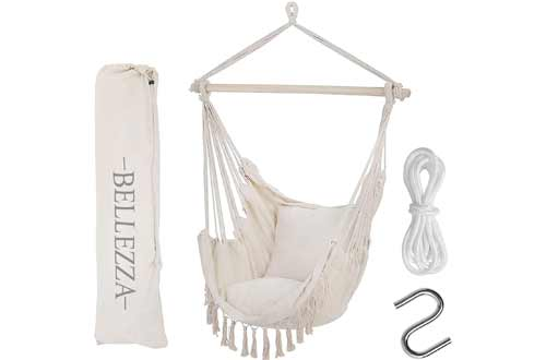 Bellezza Hammock Chair Swing - Oversized Hanging Chair with XL Luxury Cushions