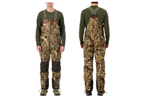 HUNTSHIELD Men's Hunting Waterfowl Bib Pants | Real Tree Max-5 Water-Resistant Hunting Pants | Camo