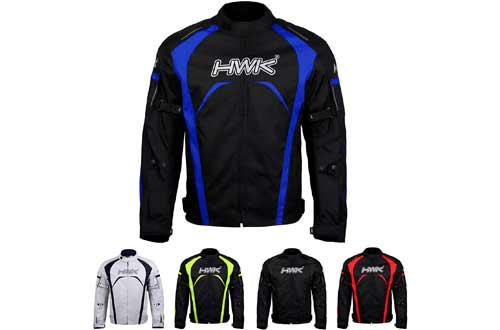 Motorcycle Jacket Men's Riding HWK Textile Racing Motorbike Hi-Vis Biker CE Armored Waterproof Jackets (Blue, M)