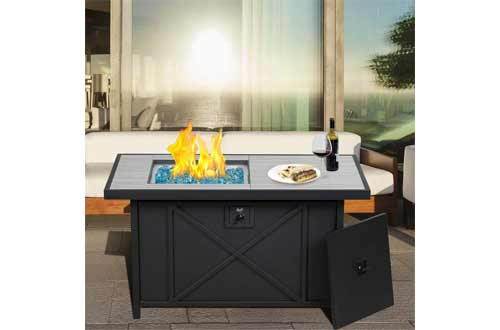 BALI OUTDOORS 42 inch 50,000 BTU Rectangular Propane Gas Fire Pit Table with Fire Glass and Table Lid