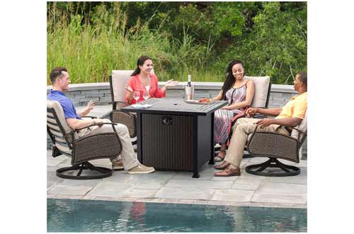 """32"""" Propane Gas Fire Pit Table 50,000 BTU with Glass Wind Guard, 2021 Upgrade"""