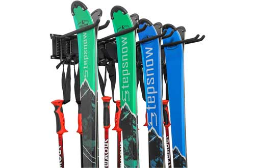 Ski Wall Rack, Holds 4 Pairs of Skis & Skiing Poles or Snowboard