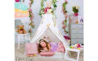 Tazztoys Kids Teepee Tent for Kids with Fairy Lights