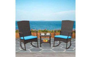 Rattaner Outdoor 3 Piece Wicker Rocking Chair Set Patio Bistro Set Conversation Furniture -2 Rocker Chair
